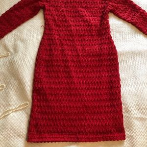 Sharagano Red bodycon Shift Dress chevron knit 6 s